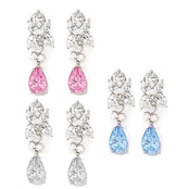 Swarovski CZ Cluster & Drop Sterling Silver Earrings