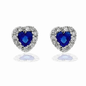 Mini Titanic Sapphire Heart Earrings
