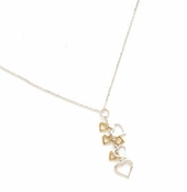 Sterling Silver & Gold Plated Cascading Hearts Necklace