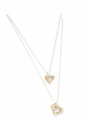 Double Layered Sterling Silver & Gold Plated Hearts Necklace