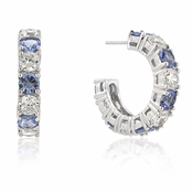 Light Sapphire & Clear CZ Sterling Silver Hoop Earrings