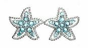 Aqua CZ Starfish Earrings