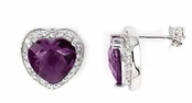 Amethyst CZ Framed Heart Earrings