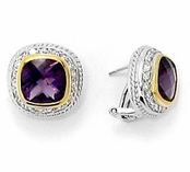 Amethyst CZ Cable Omega Back Sterling Silver Earrings