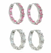 Swarovski CZ Emerald Cut Inside Out Hoop Earrings