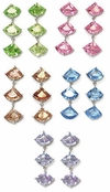 3-Stone Swarovski CZ Trillion Cut Earrings