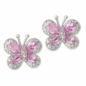 Pink & Pave'd CZ Butterfly Earrings