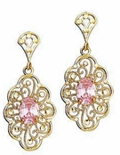 14K Yellow Gold Pink CZ Oval Filigree Drop Earrings
