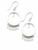 Pearl Open Circle Chandelier Earrings