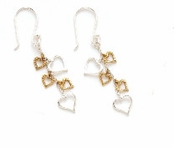 Sterling Silver & Gold Plated Cascading Hearts Earrings