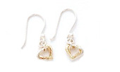 Sterling Silver & Gold Plated Heart Drop Earrings