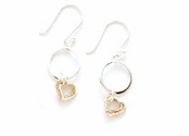 Sterling Silver & Gold Plated Hearts Circle Drop Earrings