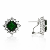 Princess Emerald & Clear CZ Sterling Silver Omega Back Earrings