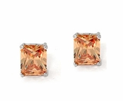 Champagne Swarovski CZ 6 -Carat Emerald Cut Earrings