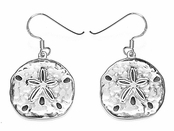 Sand Dollar Sterling Silver Drop Earrings