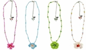Crystal & Enamel Hibiscus Flower Beaded Necklace