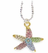 Multi Color Crystal Tropical Starfish Necklace