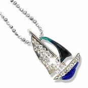 Enamel & Crystal Sailboat Pendant Necklace