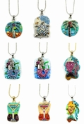 Tropical Medallion Enameled Swarovski Crystal Pendant Necklace