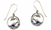 Dolphin in the Deep Blue Circle Earrings