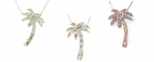Crystal Multi Tropical Palm Tree Necklace