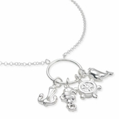 Sea Charms Circle Italian Silver Necklace