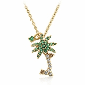 Tropical Palm Tree Dangle & Drop Necklace