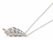 Crystal Filled Auger Shell Pendant Necklace