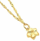 Plumeria 14K Yellow Gold Ankle Bracelet