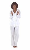 BedHead White 3D Stripe Cotton Sateen Ruffle Pajama