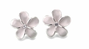 Hawaiian Plumeria Sterling Silver CZ Earrings