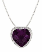 Amethyst CZ Framed Heart Pendant Necklace
