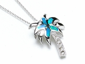 Blue Opal Inlay CZ Palm Tree Necklace
