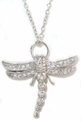 Dragonfly CZ Sterling Silver  Pendant Necklace