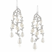 CAROLEE Crystal Vine & Simulated Pearl Chandelier Earrings