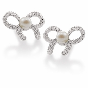 CAROLEE Small Pearl Bow Crystal Earrings