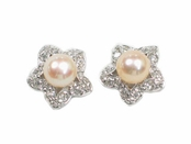 Peach Pearl CZ Flower Earrings