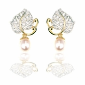 Vermeil Pave'd CZ & Pearl Drop Leaf Earrings