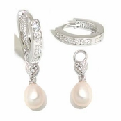 Swarovski CZ's & Freshwater Pearl Hoop Earrings