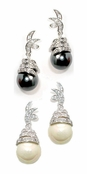 Swarovski Crystal Pearl & CZ Drop Earrings