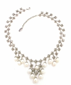 Swarovski Crystal Filigrees & Pearls Necklace by Kenny Ma
