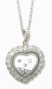 Swarovski CZ's Floating Diamonds Heart Pendant Necklace