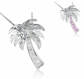 Hawaiian Scroll CZ Palm Tree Necklace