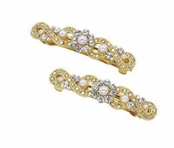 The Gilded Collection Crystal & Pearl Set of Two  Barrettes by Spring Street