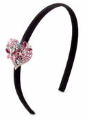 Pink Multi Crystal Heart Headband by Spring Street