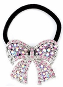 Pink Crystal AB Bow Ponytail Holder by Spring Street