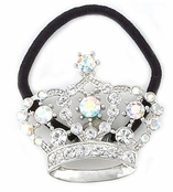 Crystal AB Crown Ponytail Holder by Spring Street