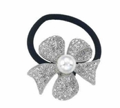 Crystal Bow & Pearl Ponytail Holder by Spring Street