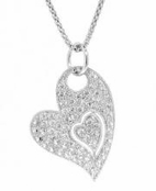 Heart in Heart Pave'd CZ Sterling Silver Pendant Necklace