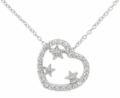 Stars in Heart CZ Necklace
